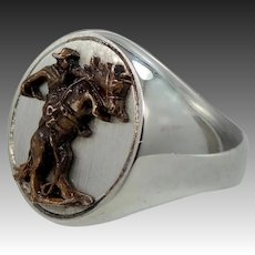 Franklin Mint Frederic Remington Sterling Silver & Bronze Men's Ring