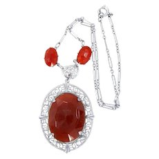 Art Deco Rhodium Plated Filigree Necklace with Carnelian Colored Faceted Glass Stones
