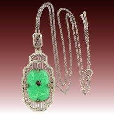 Krementz Sterling Filigree Jade Green Glass Art Deco Necklace