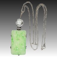 Art Deco Sterling Silver Carved & Pierced Faux Jade Neckl