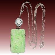 Art Deco Sterling Silver Carved & Pierced Faux Jade Neckl