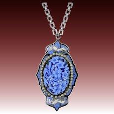 1930's Enamel Dragons Carved Blue Glass Necklace