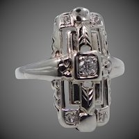 Art Deco 14k White Gold Filigree Diamond Rin