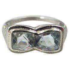 Belais 18k White Gold Double Aquamarine Art Deco Filigree Ring
