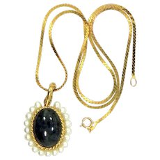Vintage 14k Gold Sodalite Pendant with Pearls & 14k Gold Chain