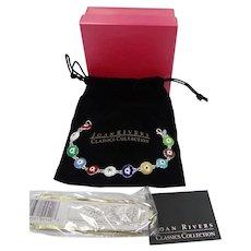 Joan Rivers Enamel Evil Eye Bracelet Mint in Box with Pouch