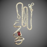 Nice Abstract Sterling Silver & Garnet Necklace
