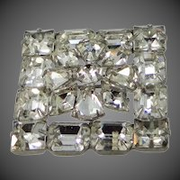 Beautiful Signed WEISS 2 Part Construction Layered Rhinestone Pin