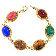 Admark Gold Filled 1950's Semi Precious Gemstones Bracelet Large Stones