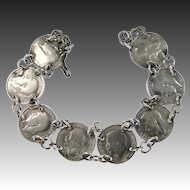 Art Deco Era 3 Pence Silver Coin Bracelet
