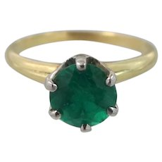 Art Deco 14k Gold Green Spinel Size 5 3/4 Ring