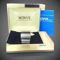 1970's NOVUS L.E.D. Man's Flat Wrist Watch Red Lens Original Boxes, Tag  & Instruction Book MI1-3W