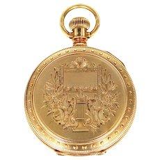 14k Solid Gold 19th Century Wm. Ellery Hunter Case Pocket Watch