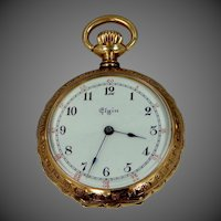 14k Gold Victorian Nicely Etched Pocket Watch | Lapel Watch