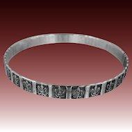 Wide Art Deco Era Solid Sterling Silver Bangle Bracelet
