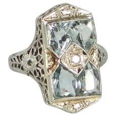 Art Deco 14k White Gold Filigree AQUAMARINE Diamond Ring Circa 1920's