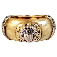 14k Gold Ring with Greek Key Design and Face