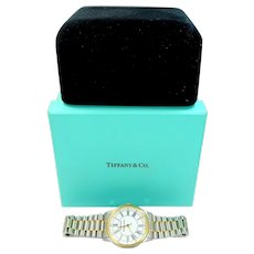 1995 Tiffany & Co. Portfolio Stainless Steel & Gold Tone Men's Wrist Watch Mint in Boxes