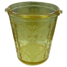 Vintage Fostoria Versailles Etched Amber Glass Handled Ice Bucket