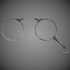 Victorian Sterling Silver Filigree Lorgnette Folding Eye Glasses
