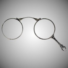 Victorian Sterling Silver Filigree Lorgnette Folding Eye Glasses