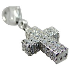 Beautiful Signed Swarovski Crystal Cross Charm / Pendant