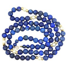 """14k Gold, Natural Blue Lapis Lazuli and Cultured Pearls 30"""" Long Necklace"""