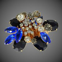 Signed Corocraft Blue & Black Layered Rhinestone Pin