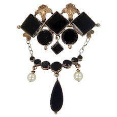 Victorian 10k Gold, Black Onyx and Cultured Pearls Mourning Brooch Pin
