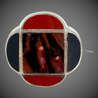 Victorian Sterling Silver Scottish Agate Pin