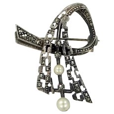 Vintage Sterling Silver, Marcasites & Cultured Pearls Abstract Pin