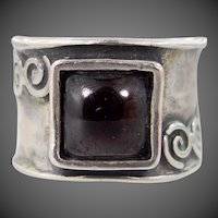 Artisan Solid Sterling Silver Garnet Ring