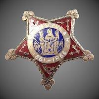 Vintage Enamel Ladies of G.A.R. Preservation of Civil War History Pin