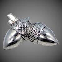 Neat Designer Signed Goldberg Kirschman Co. Sterling Silver Double Acorns Pin
