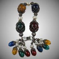 Signed NAPIER 1950's Charm Bracelet Book Piece