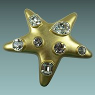 Signed Kenneth Jay Lane (KJL) Jeweled Star Brooch Book Piece