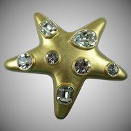Signed Kenneth Jay Lane (KJL) Jeweled Star Brooch Book Piece