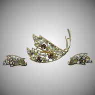 Signed EMMONS Demi Parure Brooch with Earrings