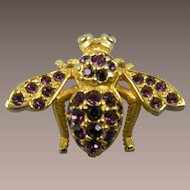 Signed JOAN RIVERS Amethyst and Goldtone Bee Brooch