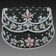 RARE Signed Calvaire Beaded Clutch Purse Made in France