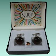 Signed SOLUDA Tie Tac and Cufflinks Set in Original Box