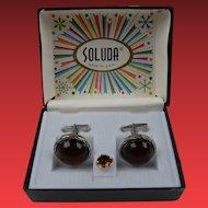 Signed SOLUDA Tie Tac and Cufflinks Set in Original Box