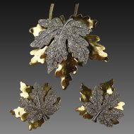Signed McClelland Barclay Dress Clips with Matching Pendant Necklace
