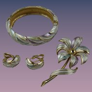 Signed KRAMER Parure with Bracelet, Earrings, and Brooch