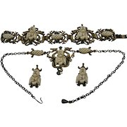 Hobe' Parure with Earrings, Bracelet, and Necklace Book Set