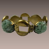 Old Chinese Import Carved Jadeite Link Sterling Bracelet