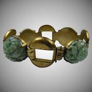 Old Chinese Import Carved Jadeite Link Sterling Bracelet