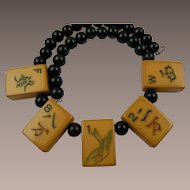 Mah Jong Bakelite Piece Memory Necklace