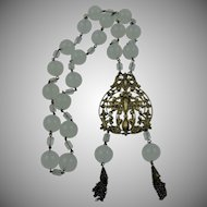 Extraordinary 1930's Brass and Frosted Lucite Beaded Necklace