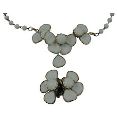 Poured Glass Petal Stones Necklace with Matching Earrings